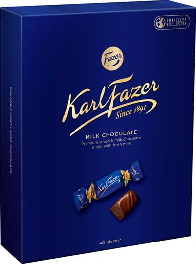 Karl Fazer-mælkechokolade‑rejseæske 295g