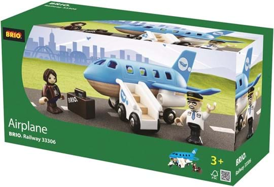 BRIO Three seat wooden airplane with a hatch that opens over the cockpit to  place the figures. Two poseable figures included with a rolling  staircase and a suitcase.