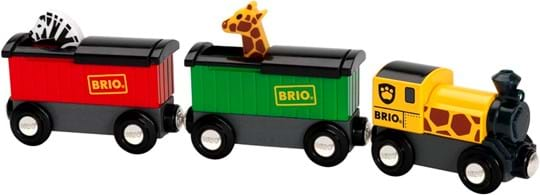 BRIO This safari train with one engine and two wagons, carry the colourful  giraffe and zebra in the back of the wagons. Their heads pop up and  down when sliding the hood to the side, perfect to fit under the low  clearance tunnels.