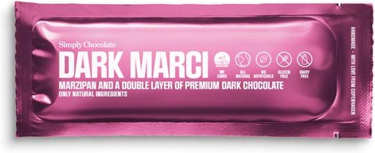 Simply Chocolate Chocolate bar with marzipan, and a double layer of dark chocolate (60%) 40g