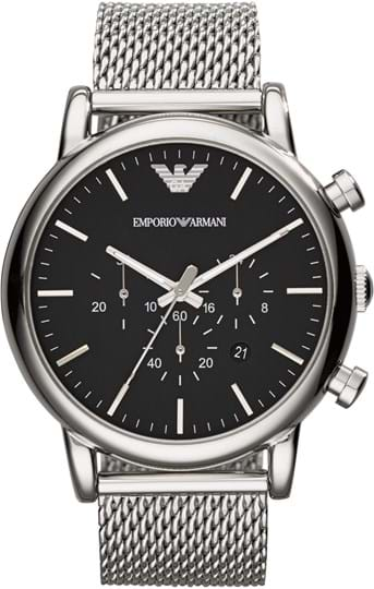 Emporio Armani Luigi Men's watch, case: stainless steel, silver, strap color: silver, strap material: stainless steel mesh, dial: black, movement: quartz/chrono