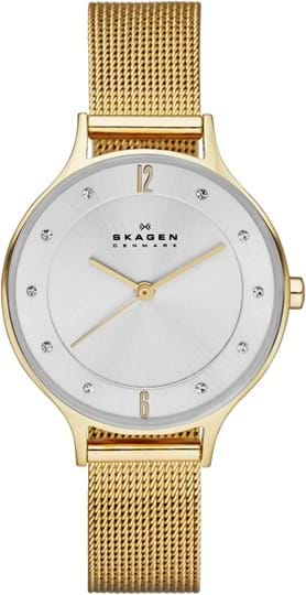 Skagen Anita Ladie's watch, case: stainless steel,gold, strap color: gold, strap material: stainless steel, dial: silver, movement: quartz/3 hand