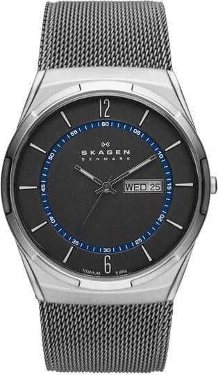 Skagen Melbye Men's watch, case: titanium,grey, strap color: grey, strap material: stainless steel, dial: grey, movement: quartz/3 hand date