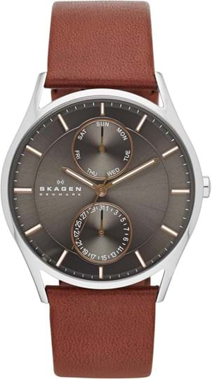 Skagen Holst Men's watch, case: stainless steel,silver, strap color: saddle, strap material: leather, dial: grey, movement: quartz/multi