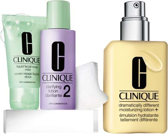 Clinique 3 Steps-System Skincare Great Skin Starts Here Type I/II Set cont.: Dramatically Different Moisturizing Lotion + 125 ml (GH 1043505) + Promo Liquid Faci