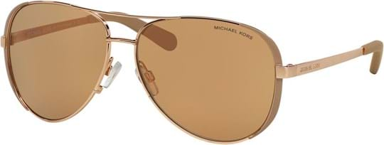 Michael Kors Sporty women's Sunglasses with a frame made of metal and plastic lenses in rose gold mirror