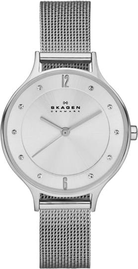 Skagen Anita Ladie's watch, case: stainless steel,silver, strap color: silver, strap material: stainless steel, dial: silver, movement: quartz/3 hand