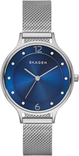 Skagen Anita Ladie's watch, case: stainless steel,silver, strap color: silver, strap material: stainless steel, dial: blue, movement: quartz/3 hand