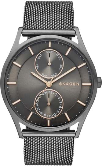Skagen Holst Men's watch, case: stainless steel,grey, strap color: grey, strap material: stainless steel, dial: grey, movement: quartz/multi