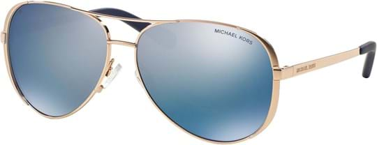 Michael Kors Sporty Women's Sunglasses with a frame made of metal in rose gold and plastic lenses in violet mirror polarized