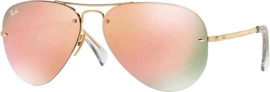 Ray Ban highstreet Unisex Sunglasses with a frame made of metal in gold and plastic lenses in brown pink mirror