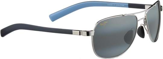 Maui Jim Guardrails Unisex Sunglasses with a frame made of metal in silver and plastic lenses in grey