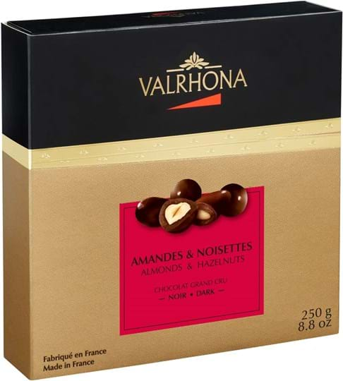 Valrhona Equinoxe – mandler og hasselnødder i mørk chokolade 250g