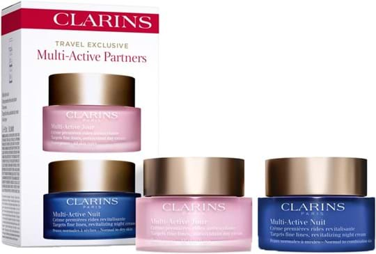 Clarins Skincare Set Multi Active Partners Set cont.: Multi-Active Early Wrinkle Day Cream AST 50 ml (GH 1178622) + Multi-Active Night Cream Normal to Dry Skin 50 ml (GH 1178626)