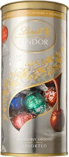 Lindor Flavour Edition of the Year (mælkechokolade, kokos, jordbær, mørk chokolade), 400g