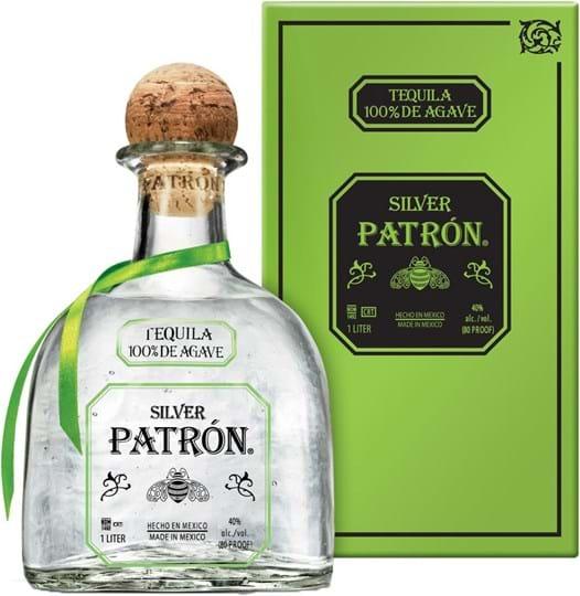 Patrón Tequila Silver 40% 1L, gavepakke