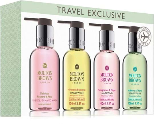 Molton Brown Travel Set Bestsellers Hand Wash Gift Set cont.: Delicious Rhubarb and Rose Hand Wash 100 ml + Orange and Bergamot Hand Wash 100 ml + Pomegranate and Ginger Hand Wash 100 ml + Mulberry and Thyme Hand Wash 100 ml