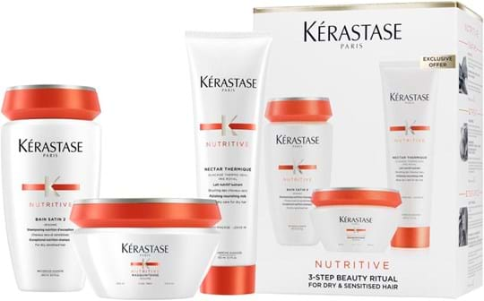Kérastase Nutritive Set cont.: 1 x Shampoo Satin 2 250 ml + 1 x Mask Tick Hair 200 ml + 1 x Nectar Thermique 150 ml (replaces GH 1188489)