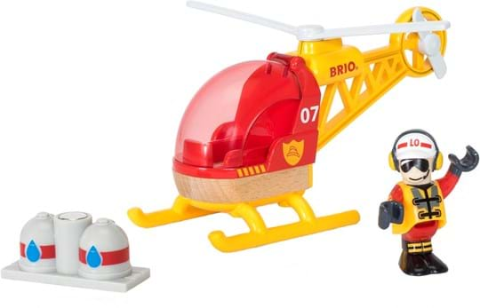 BRIO Fly over the city with your fire helicopter and make sure all is well. Open the window door and put in the pilot. The water supply is easy to bring along with help of the magnet.
