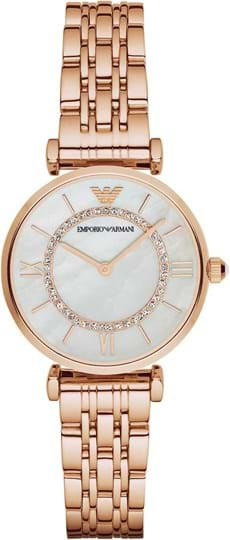 Emporio Armani Gianni T-Bar Ladies' watch, case: stainless steel, rose gold, strap color: rose gold, strap material: stainless steel, dial: mop, movement: quartz/2 hand