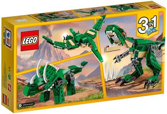 LEGO Creator Shake the ground with this menacing T. rex, featuring a dark-green and beige color scheme and bright orange eyes. Open its mouth to reveal razor-sharp teeth, position the huge claws and move its head and tail.