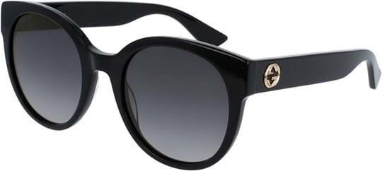 Gucci Urban Women's Sunglasses with a frame made of acetate in black and plastic lenses in grey