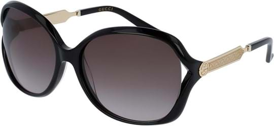 Gucci Opulent Luxury Women's Sunglasses with a frame made of plastic in black and plastic lenses in grey