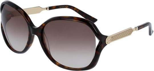Gucci Opulent Luxury Women's Sunglasses with a frame made of plastic in gold and plastic lenses in brown
