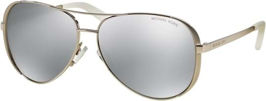 Michael Kors Sporty Women's Sunglasses with a frame made of metal in silver and lenses made of Polycarbonate in silver mirror polarized