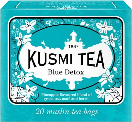 Kusmi Tea Detox Green Tea with Mate and Plants, Flavored - Pineapple -