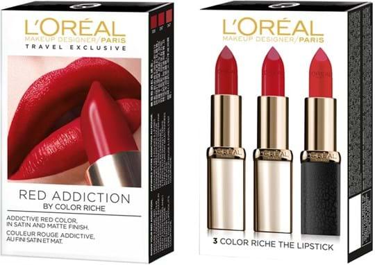 L'Oréal Paris Lipstick Set Set cont.: Satin N° 335 Carmin Saint Germain (GH 1120861) + CR Satin N° 297 Red Passion (GH 299972) + CR Matte N° 347 Haute Rouge (GH 1248811)