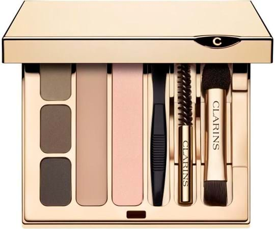 Clarins Make-Up Set Eye Brow Kit cont.: 3x Eyebrow Shadow + Felsh Tone Eyeshadow + Wax + mini tweesers + mini bristle brush + mini double applicator (replaces GH 1094683)