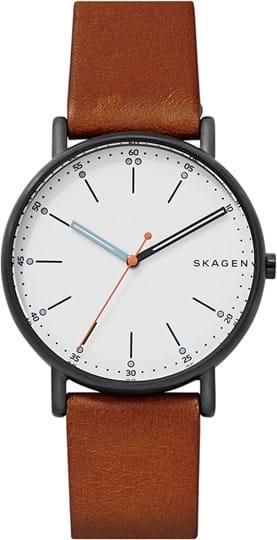 Skagen Signatur Men's watch, case: stainless steel,black, strap color: brown, strap material: leather, dial: white, movement: quartz/3 hand