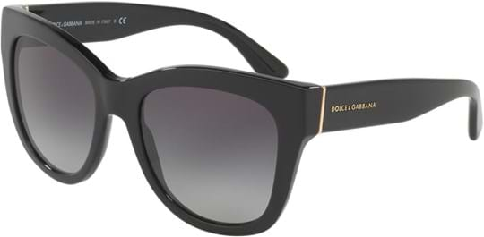 Dolce & Gabbana DNA Women's Sunglasses with a frame made of acetate in black and plastic lenses in gradient grey