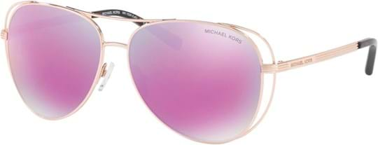Michael Kors Sporty Women's Sunglasses with a frame made of metal in rosegold and plastic lenses in mirrored purple