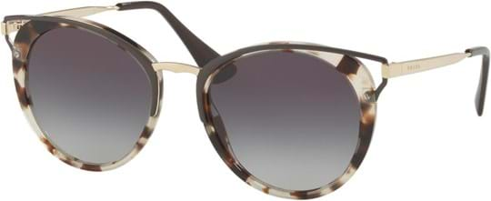 Prada Women's Sunglasses with a frame made of metal in beige and plastic lenses in gradient grey