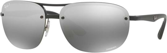 Ray Ban Tech Men's Sunglasses with a frame made of plastic in black and plastic lenses in gradient, mirrored polarized grey