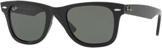 Ray Ban Icons Unisex Sunglasses with a frame made of plastic in black and crystal lenses in green
