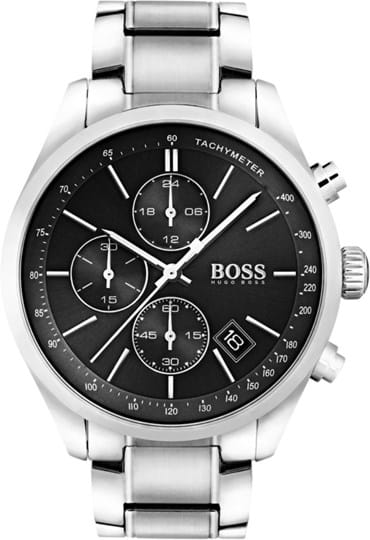 Boss Grand Prix Men's watch, case: stainless steel, silver, 44mm, strap colour:silver, strap material: stainless steel, dial: black, movement: quartz, chronograph, 3 ATM