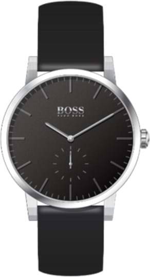 Boss Essence Men's watch, case: stainless steel, silver, 42mm, strap colour:black, strap material: leather, dial: black, movement: quartz, 3 hands, 3 ATM