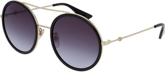 Gucci Urban Women's Sunglasses with a frame made of metal in gold and plastic lenses in grey