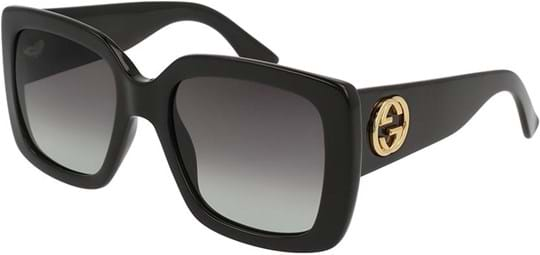 Gucci Urban Women's Sunglasses with a frame made of plastic in black and plastic lenses in grey