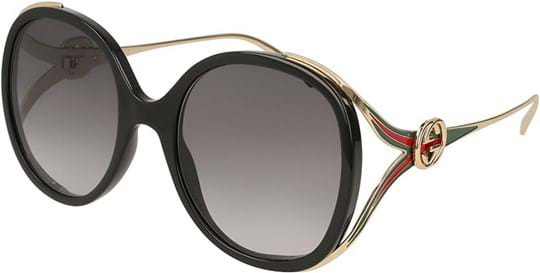 Gucci Women's Sunglasses with a frame made of plastic in black and plastic lenses in grey