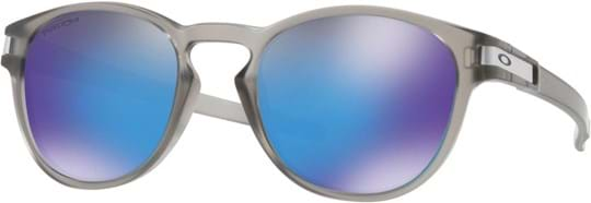 Oakley Men's Sunglasses with a frame made of plastic in grey and plastic lenses in polarized blue