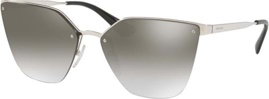Prada Women's Sunglasses with a frame made of metal in silver and plastic lenses in gradient, mirror grey
