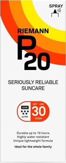 P20 SPF30, spray med nem påføring, 10 timers solbeskyttelse, meget vandfast 150ml
