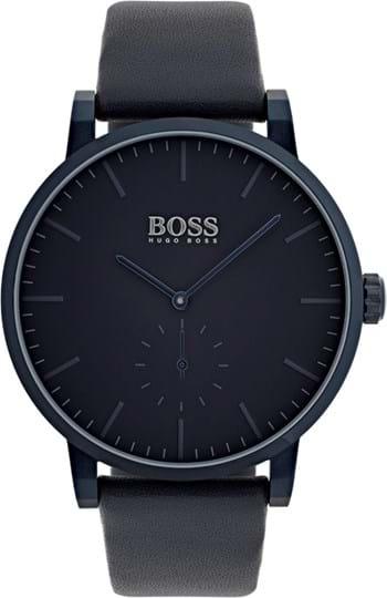 Boss Essence Men's watch, case: stainless steel, dunkelblue, 42mm, strap colour: blue, strap material: leather, dial: blue, movement: quartz, 3 hands, 3 ATM