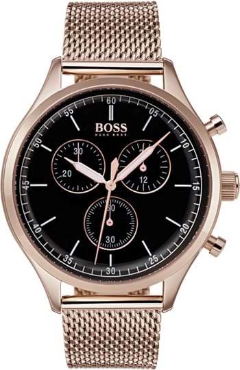 Boss Companion Men's watch, case: stainless steel, roségold, 43,5 mm, strap colour: roségold, strap material: stainless steel, dial: black, movement: quartz, chronograph, 5 ATM