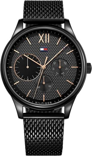 Tommy Hilfiger Damon Men's watch, case: stainless steel, black, 44mm, strap colour: black, strap material: stainless steel, dial: black, movement: quartz, 5 ATM