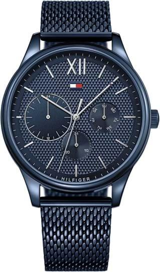Tommy Hilfiger Damon Men's watch, case: stainless steel, blue, 44mm, strap colour: blue, dial: blue, strap material: stainless steel, Uhrwerk: Quarz, 5 ATM